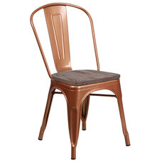 Copper Metal Stackable Chair with Wood Seat