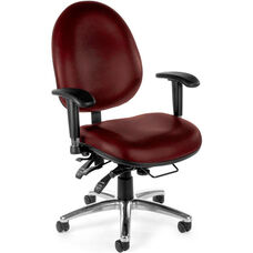 24 Hour Big & Tall Anti-Microbial and Anti-Bacterial Vinyl Task Chair - Wine