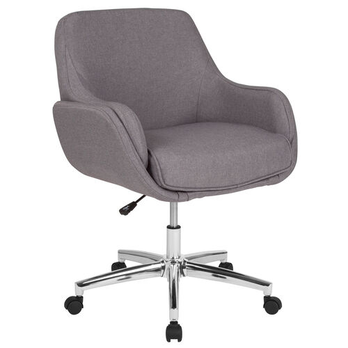 Our Rochelle Home and Office Upholstered Mid-Back Chair in Light Gray Fabric is on sale now.