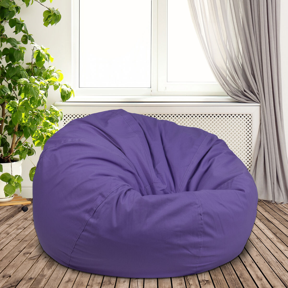 Outstanding Oversized Solid Purple Bean Bag Chair For Kids And Adults Ocoug Best Dining Table And Chair Ideas Images Ocougorg