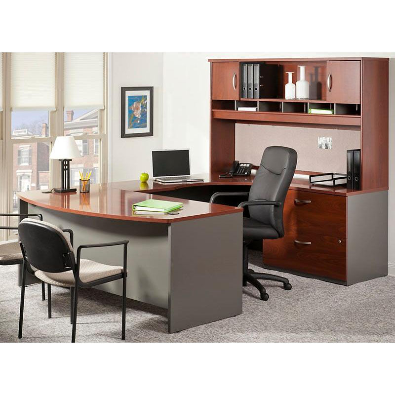 Bush Business Furniture Series C 72u0027u0027 W X 36u0027u0027 D Bow Front Desk   Hansen  Cherry And Graphite Gray WC24446 | Bizchair.com