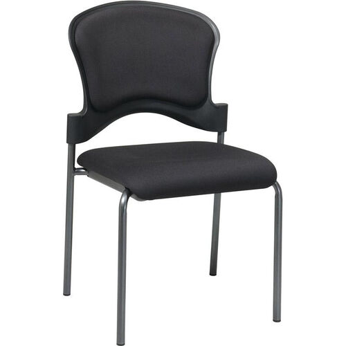 Our Pro-Line II Upholstered Contour Back Armless Visitors Chair with Titanium Finish Frame - Black is on sale now.