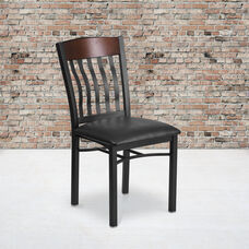 Vertical Back Black Metal and Walnut Wood Restaurant Chair with Black Vinyl Seat