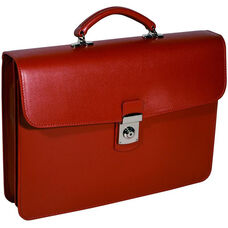 Kensington Single Gusset Briefcase with Suede Lining - Saffiano Genuine Leather - Red