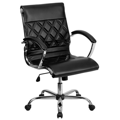 Mid-Back Designer LeatherSoftSoft Executive Swivel Office Chair with Chrome Base and Arms
