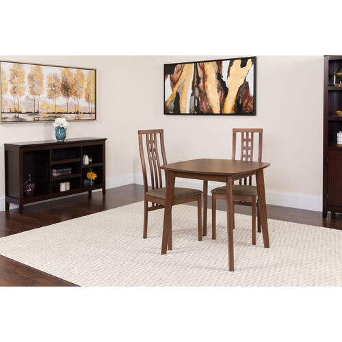 Our Weston 3 Piece Walnut Wood Dining Table Set with High Triple Window Pane Back Wood Dining Chairs - Padded Seats is on sale now.