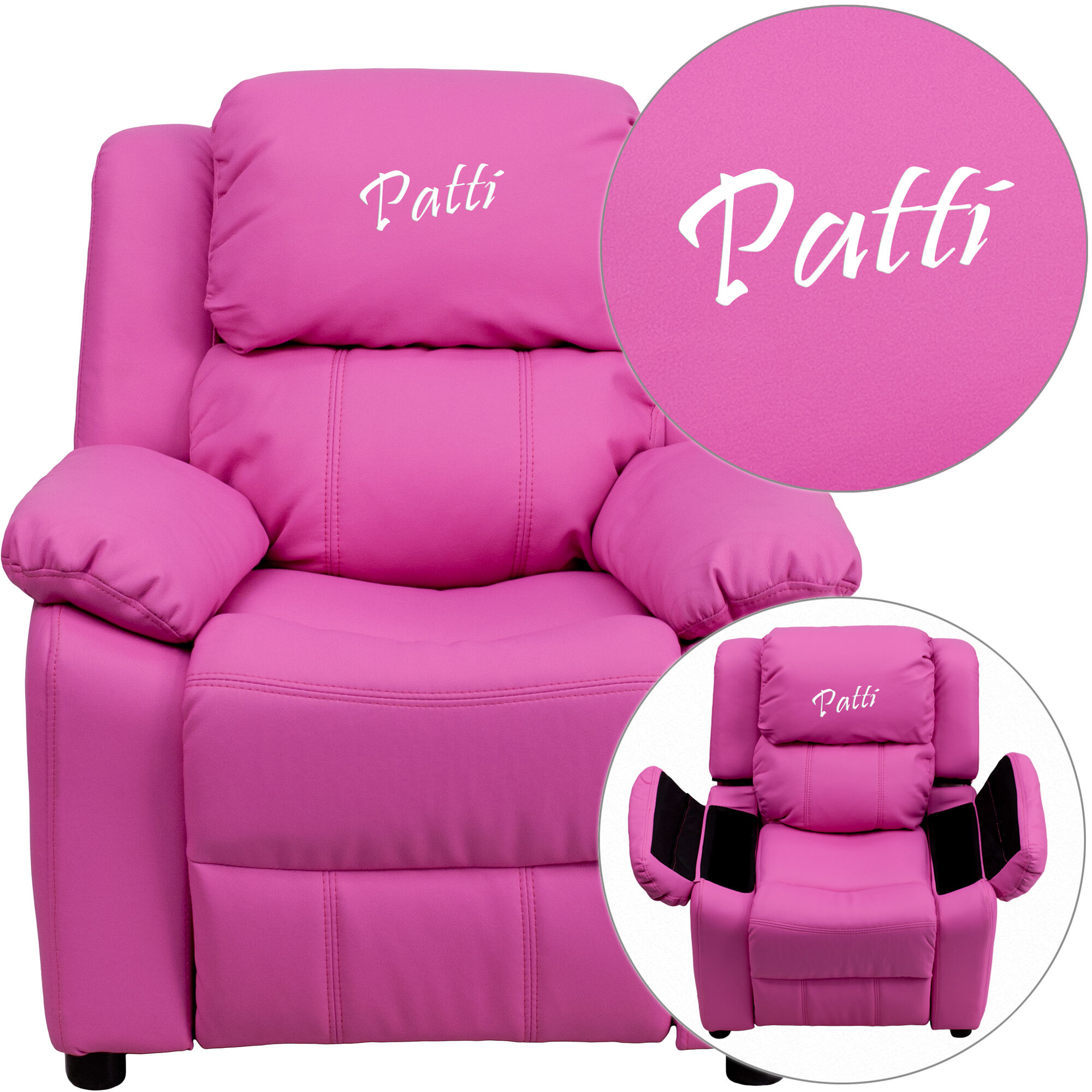 Groovy Personalized Deluxe Padded Hot Pink Vinyl Kids Recliner With Storage Arms Creativecarmelina Interior Chair Design Creativecarmelinacom
