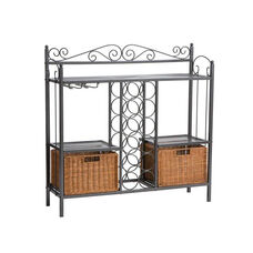 Celtic Durable Textured Finish Metal Fixed Shelf Bakers Rack with Stem Wear Storage and Brown Rattan Baskets - Gunmetal Grey