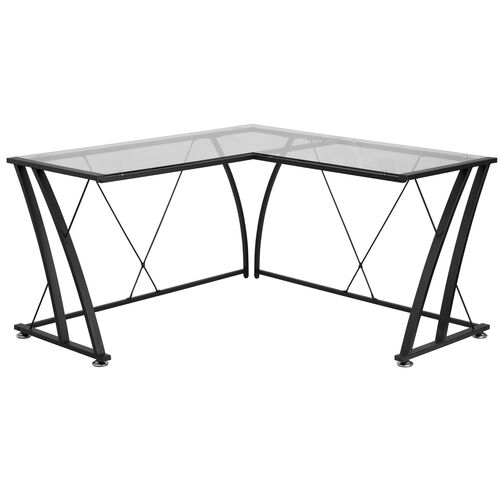 Our Glass L-Shape Computer Desk with Black Metal Frame is on sale now.