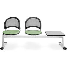 Moon 3-Beam Seating with 2 Sage Green Fabric Seats and 1 Table - Gray Nebula Finish