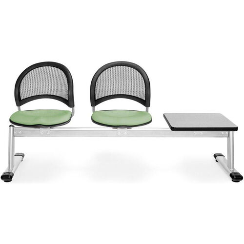 Our Moon 3-Beam Seating with 2 Sage Green Fabric Seats and 1 Table - Gray Nebula Finish is on sale now.