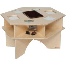 Deluxe Wooden Science Activity Table with Brown Plastic Storage Tray - 27