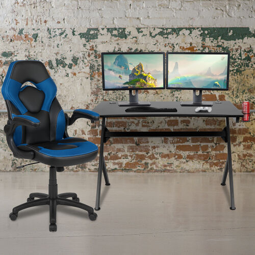 BlackArc Black Gaming Desk and Blue and Black Racing Chair Set with Cup Holder, Headphone Hook & 2 Wire Management Holes