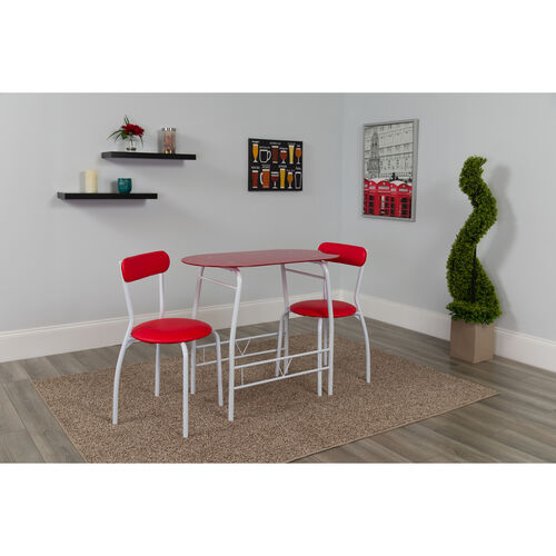Our Sutton 3 Piece Space-Saver Bistro Set with Red Glass Top Table and Red Vinyl Padded Chairs is on sale now.