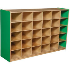 Wooden Storage Unit with 30 Storage Compartments - Green Apple - 58