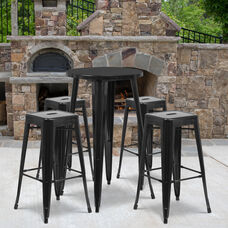 "Commercial Grade 24"" Round Black Metal Indoor-Outdoor Bar Table Set with 4 Square Seat Backless Stools"