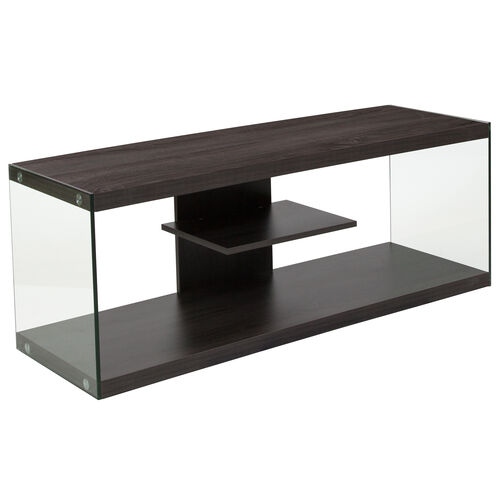 Our Cedar Lane Collection Driftwood Wood Grain Finish TV Stand with Shelves and Glass Frame is on sale now.