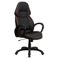 High Back Black Vinyl Executive Swivel Chair with Red Piping and Arms