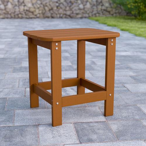 Charlestown All-Weather Poly Resin Wood Adirondack Side Table in Teak