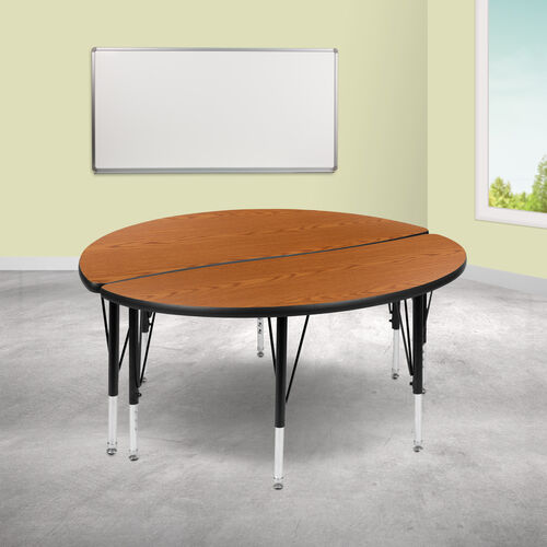 """2 Piece 47.5"""" Circle Wave Collaborative Oak Thermal Laminate Activity Table Set - Height Adjustable Short Legs"""