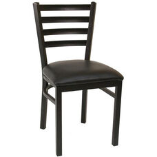Quick Ship Thick Ladder Back Armless Dining Chair - Black Vinyl Seat