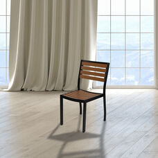 Outdoor Side Chair with Faux Teak Poly Slats