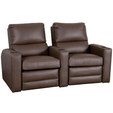 Manor Two Seater Home Theater - Straight Arm in Top Grain Leather