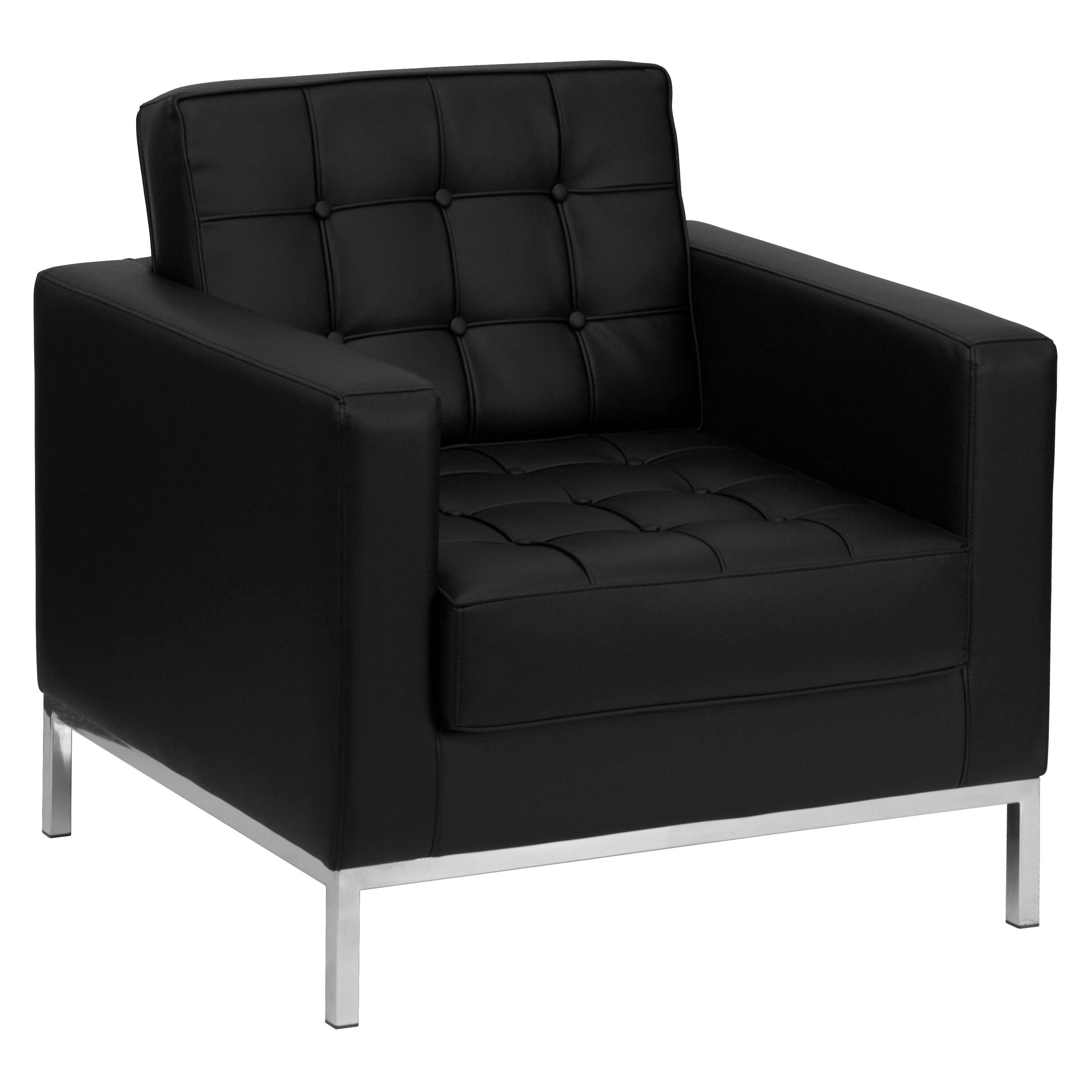 hercules lacey series black leather chair with stainless steel frame