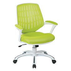 Ave Six Calvin Mesh Office Chair with White Frame and Fabric Padded Seat and Arms - Green