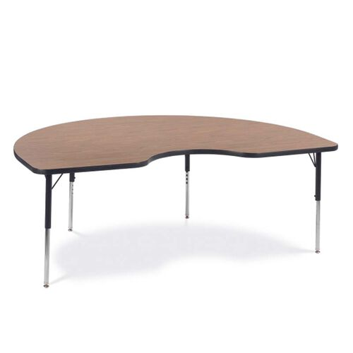 Our Quick Ship 4000 Series Adjustable Height Kidney Top Laminate Activity Table with Medium Oak Top - 48