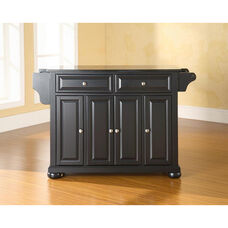 Solid Black Granite Top Kitchen Island with Alexandria Style Feet - Black Finish