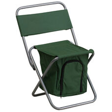 Folding Camping Chair with Insulated Storage in Green