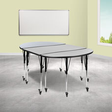 """3 Piece Mobile 76"""" Oval Wave Collaborative Grey Thermal Laminate Activity Table Set - Standard Height Adjustable Legs"""