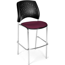 Stars Cafe Height Chair with Fabric Seat and Chrome Frame - Burgundy