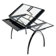 Futura Clear Tempered Glass and Steel Craft Station with Folding Shelf - Black