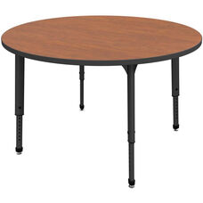 Apex Series Height Adjustable Round Activity Table - Wild Cherry Top with Black Edge and Legs - 36