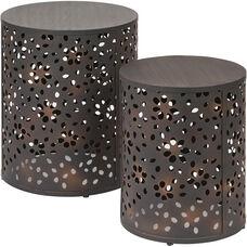 OSP Designs Middleton 2 Piece Set Round Accent Tables - Antique Bronze
