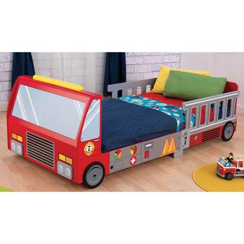 Our Firefighter Series Wooden Fire Truck Toddler Bed with Safety Rail Ladder Cut-Outs is on sale now.