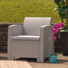 Light Gray Faux Rattan Chair with All-Weather Light Gray Cushion