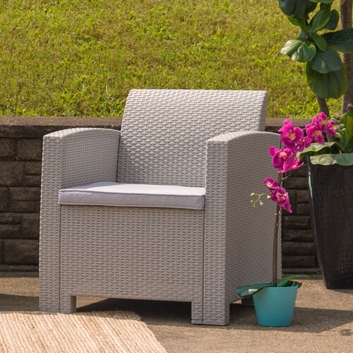 Our Light Gray Faux Rattan Chair with All-Weather Light Gray Cushion is on sale now.
