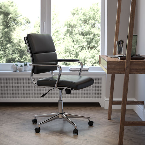 Mid-Back LeatherSoft Contemporary Panel Executive Swivel Office Chair