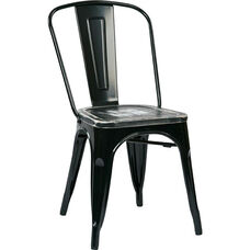 OSP Designs Bristow Metal Chair with Wood Seat - 4-Pack - Black and Vintage Ash Crazy Horse