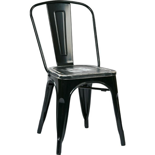 Our OSP Designs Bristow Metal Chair with Wood Seat - 4-Pack - Black and Vintage Ash Crazy Horse is on sale now.