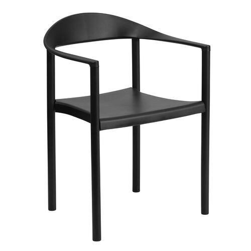 Our HERCULES Series 1000 lb. Capacity Black Plastic Cafe Stack Chair is on sale now.