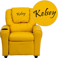 Personalized Yellow Vinyl Kids Recliner with Cup Holder and Headrest