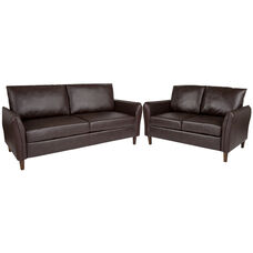 Milton Park Upholstered Plush Pillow Back Loveseat and Sofa Set in Brown LeatherSoft