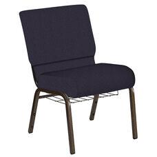21''W Church Chair in Bonaire Duke Fabric with Book Rack - Gold Vein Frame