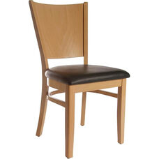 Solid Back Side Chair in Natural Wood Finish