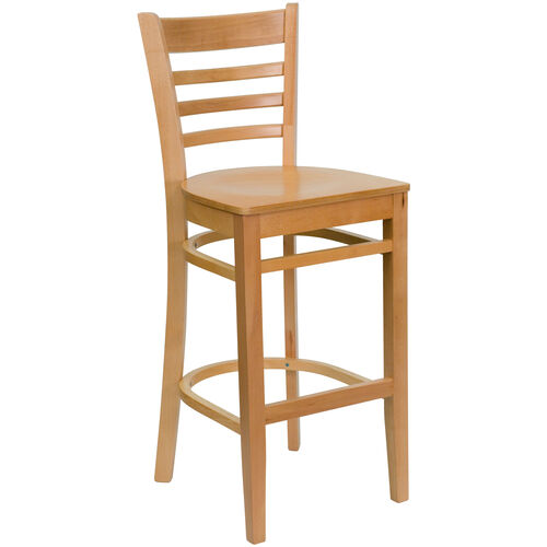 Our Natural Wood Finished Ladder Back Wooden Restaurant Barstool is on sale now.