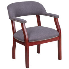 Gray Fabric Luxurious Conference Chair with Accent Nail Trim